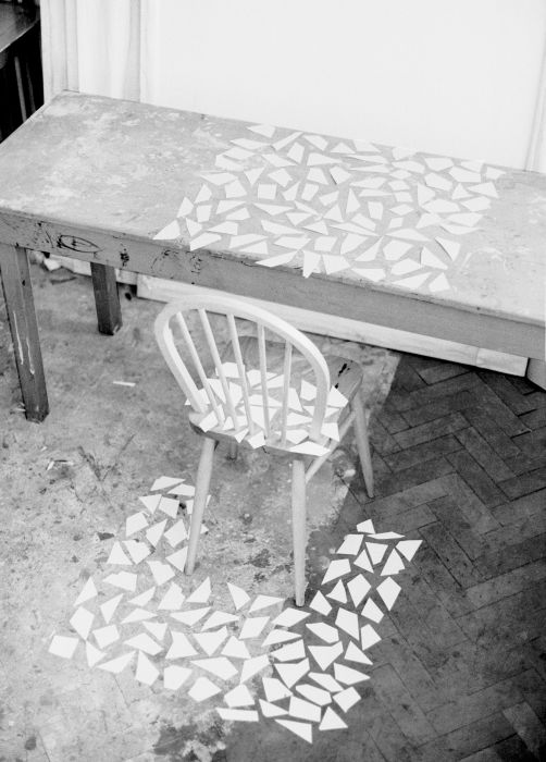 Fragments on table and chair